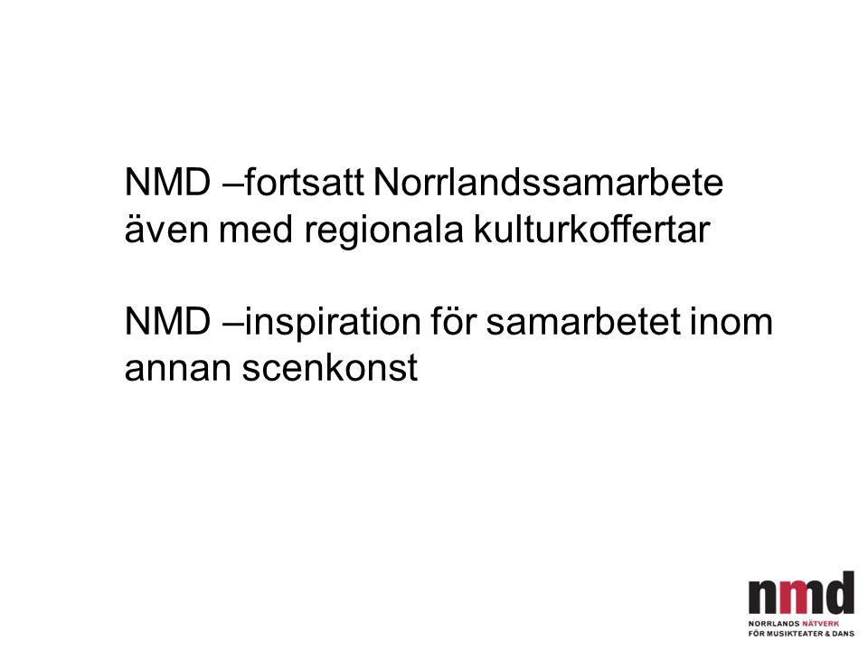 NMD –fortsatt Norrlandssamarbete även med regionala kulturkoffertar NMD –inspiration för samarbetet inom annan scenkonst