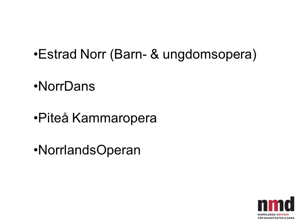 Estrad Norr (Barn- & ungdomsopera) NorrDans Piteå Kammaropera NorrlandsOperan