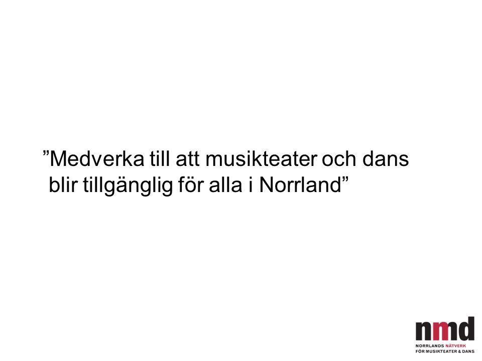 """""""Medverka till att musikteater och dans blir tillgänglig för alla i Norrland"""""""