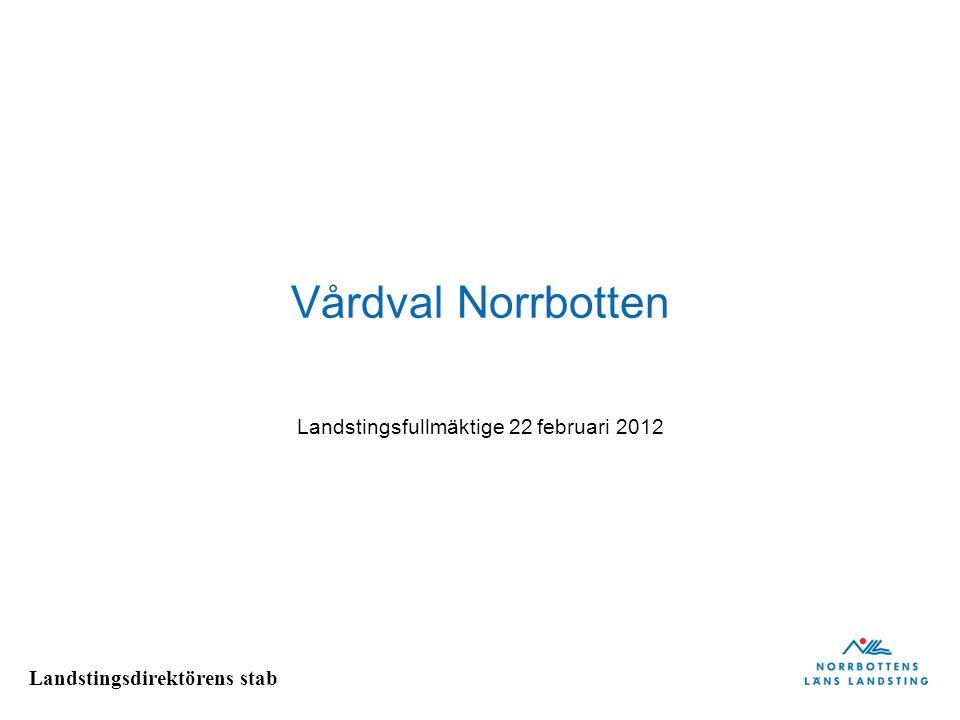 Landstingsdirektörens stab Vårdval Norrbotten Landstingsfullmäktige 22 februari 2012