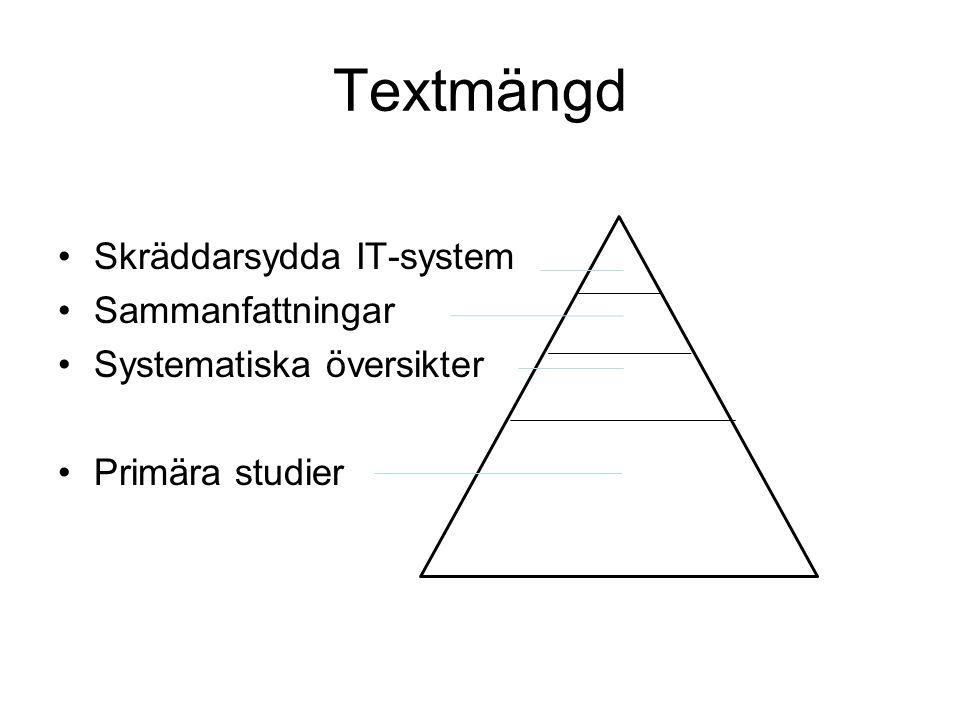 Textmängd Skräddarsydda IT-system Sammanfattningar Systematiska översikter Primära studier
