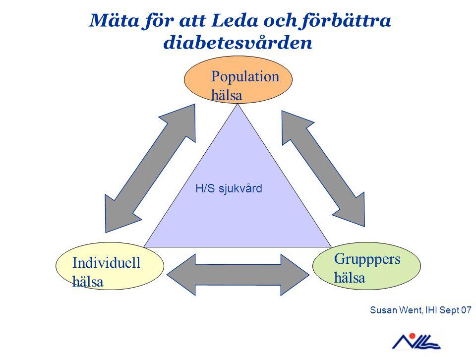 Mäta för att Leda och förbättra diabetesvården Population hälsa Individuell hälsa Grupppers hälsa H/S sjukvård Susan Went, IHI Sept 07