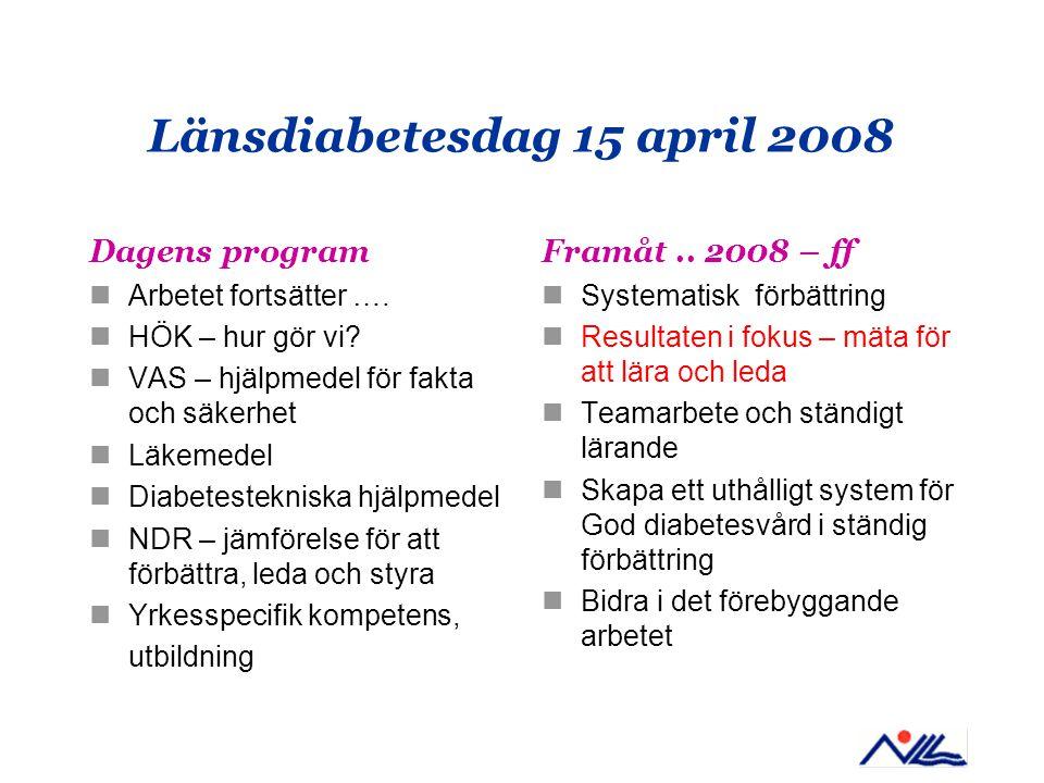 Länsdiabetesdag 15 april 2008 Dagens program Arbetet fortsätter …. HÖK – hur gör vi? VAS – hjälpmedel för fakta och säkerhet Läkemedel Diabetesteknisk