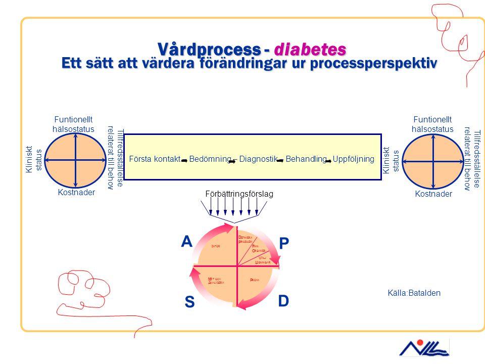 Vårdprocess - diabetes Ett sätt att värdera förändringar ur processperspektiv Funtionellt hälsostatus Tillfredsställelse relaterat till behov Kostnade