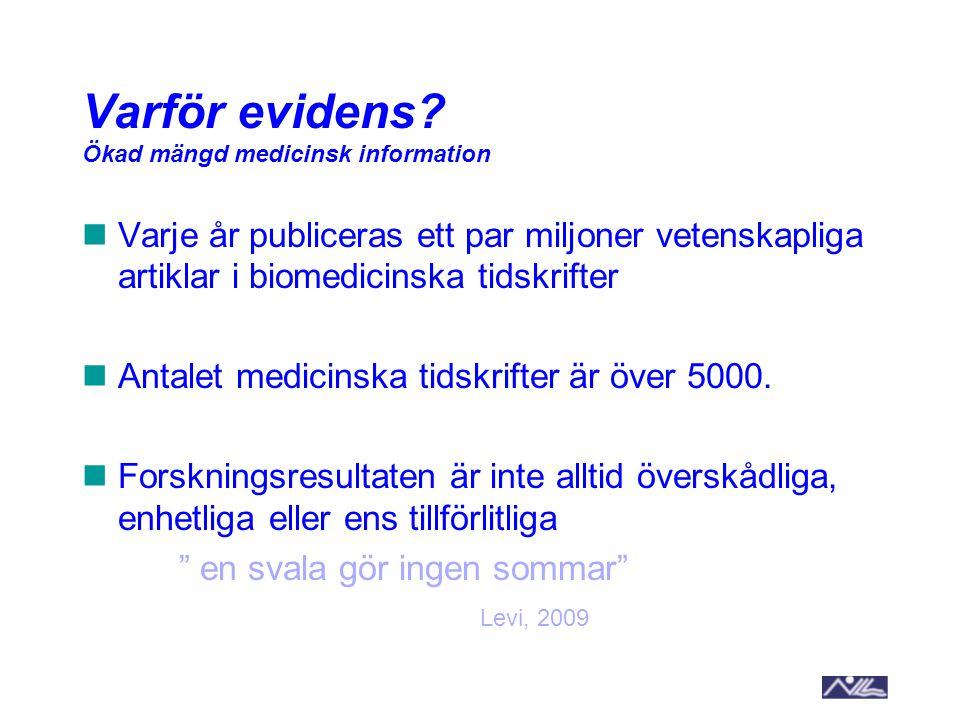 Varje år publiceras ett par miljoner vetenskapliga artiklar i biomedicinska tidskrifter Antalet medicinska tidskrifter är över 5000. Forskningsresulta