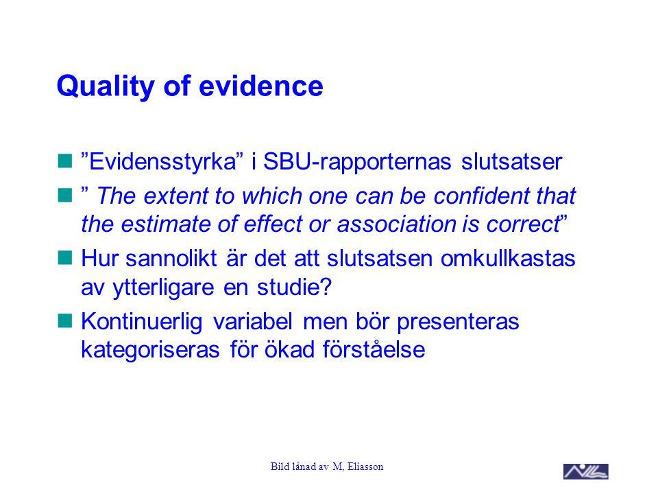 "Bild lånad av M, Eliasson Quality of evidence ""Evidensstyrka"" i SBU-rapporternas slutsatser "" The extent to which one can be confident that the estima"