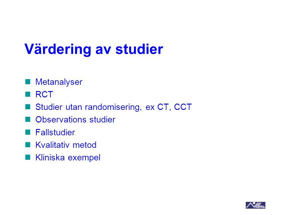 Värdering av studier Metanalyser RCT Studier utan randomisering, ex CT, CCT Observations studier Fallstudier Kvalitativ metod Kliniska exempel