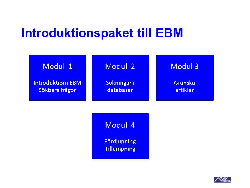 Introduktionspaket till EBM Modul 1 Introduktion i EBM Sökbara frågor Modul 2 Sökningar i databaser Modul 3 Granska artiklar Modul 4 Fördjupning Tillä