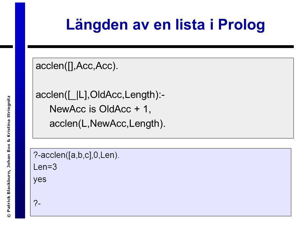 © Patrick Blackburn, Johan Bos & Kristina Striegnitz Sökträdet för acclen/3 ?- acclen([a,b,c],0,Len).