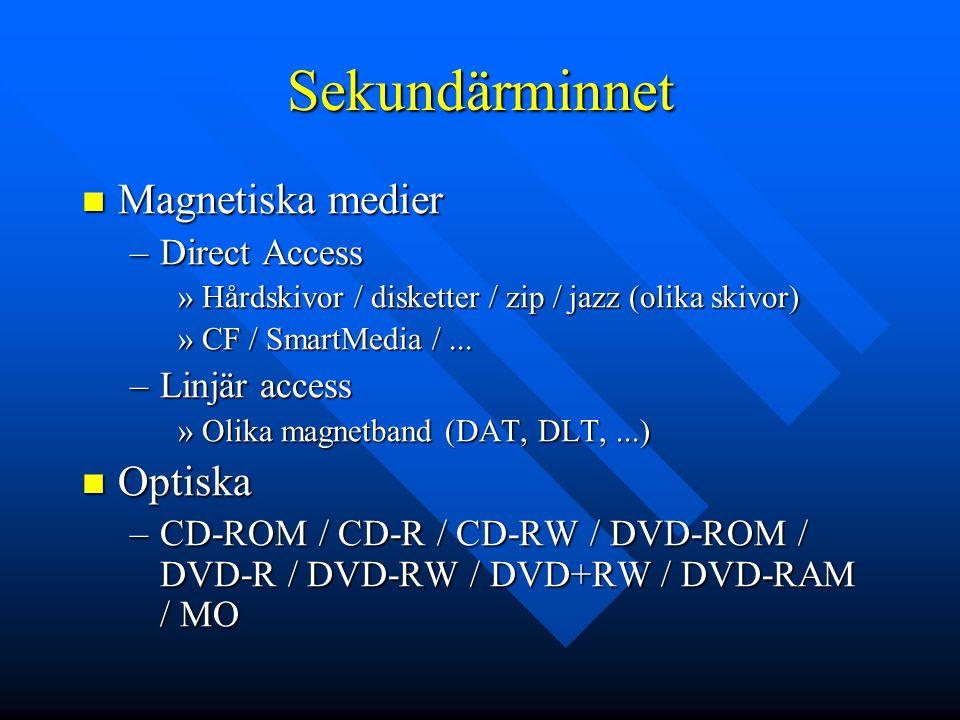 Sekundärminnet Magnetiska medier Magnetiska medier –Direct Access »Hårdskivor / disketter / zip / jazz (olika skivor) »CF / SmartMedia /... –Linjär ac