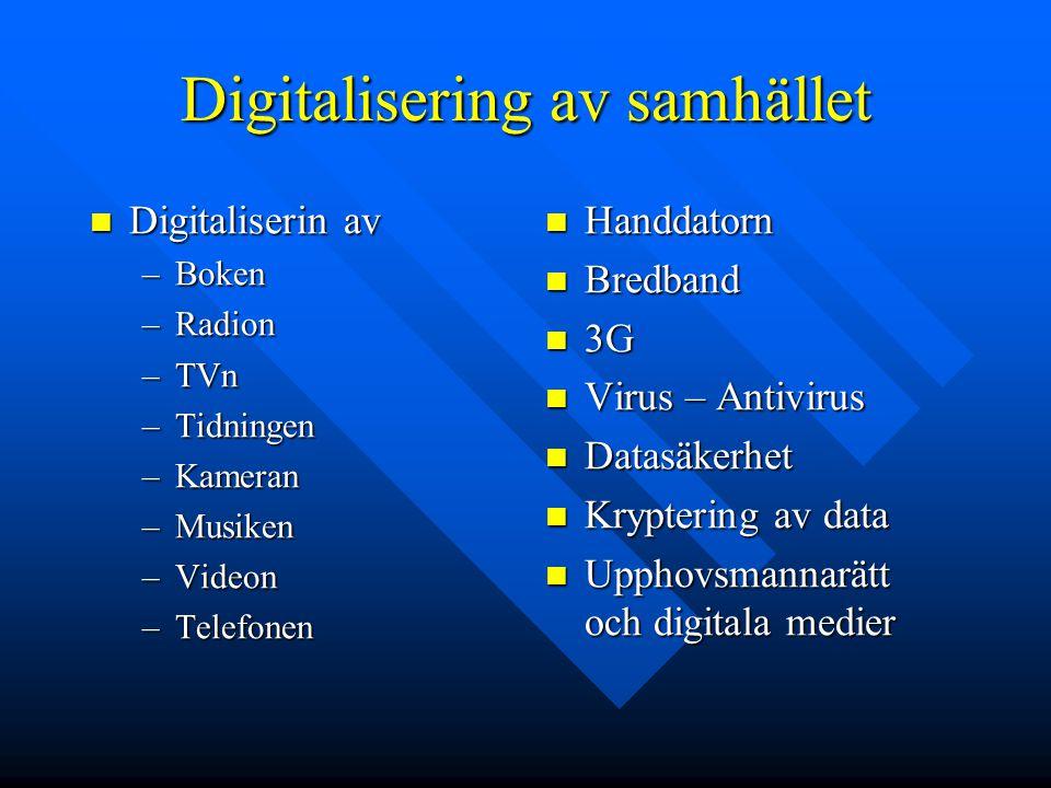 Digitalisering av samhället Digitaliserin av Digitaliserin av –Boken –Radion –TVn –Tidningen –Kameran –Musiken –Videon –Telefonen Handdatorn Bredband