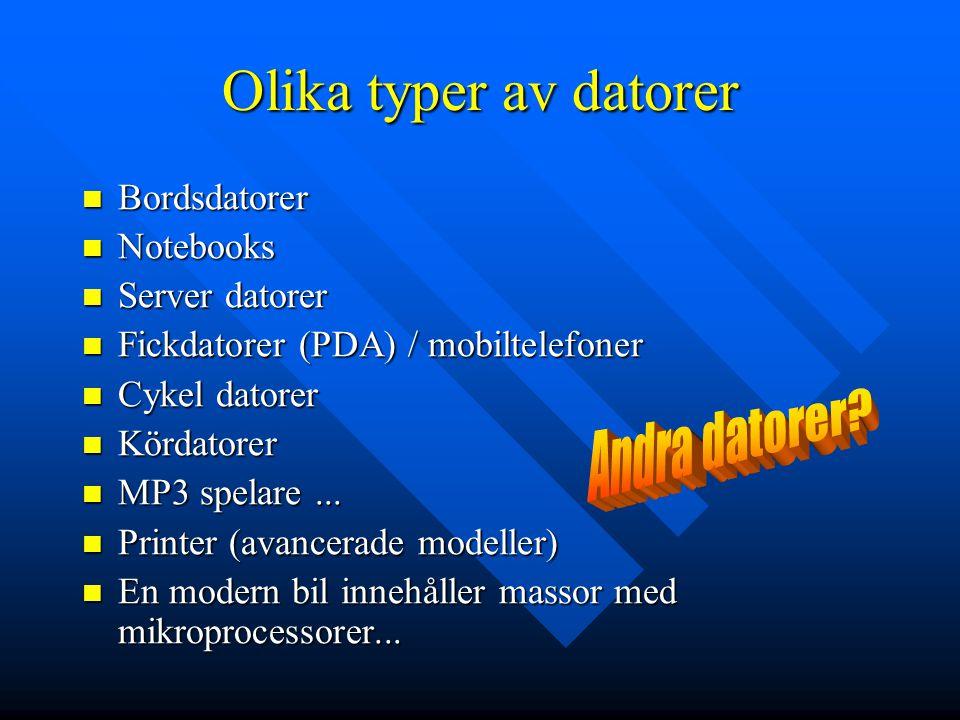 Datorns olika delar Någon typ av centralenhet som innehåller processor och minne Någon typ av centralenhet som innehåller processor och minne Inenheter (tangentbord, mus, mikrofon, penna, video kamera,...) Inenheter (tangentbord, mus, mikrofon, penna, video kamera,...) Utenheter (skärm, ljud, skrivare, bränslepump,...) Utenheter (skärm, ljud, skrivare, bränslepump,...) Lagringsmedier, flyttbara lagringsmedier Lagringsmedier, flyttbara lagringsmedier