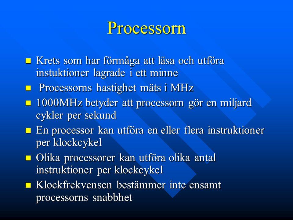 Processorn Krets som har förmåga att läsa och utföra instuktioner lagrade i ett minne Krets som har förmåga att läsa och utföra instuktioner lagrade i