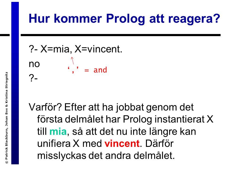 © Patrick Blackburn, Johan Bos & Kristina Striegnitz Hur kommer Prolog att reagera.