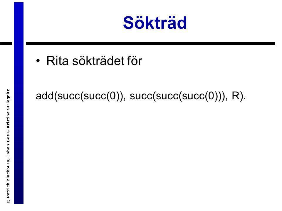 © Patrick Blackburn, Johan Bos & Kristina Striegnitz Sökträd Rita sökträdet för add(succ(succ(0)), succ(succ(succ(0))), R).