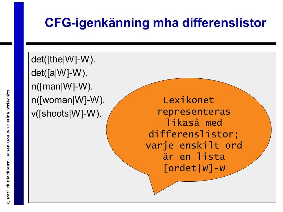 © Patrick Blackburn, Johan Bos & Kristina Striegnitz CFG-igenkänning mha differenslistor det([the|W]-W).