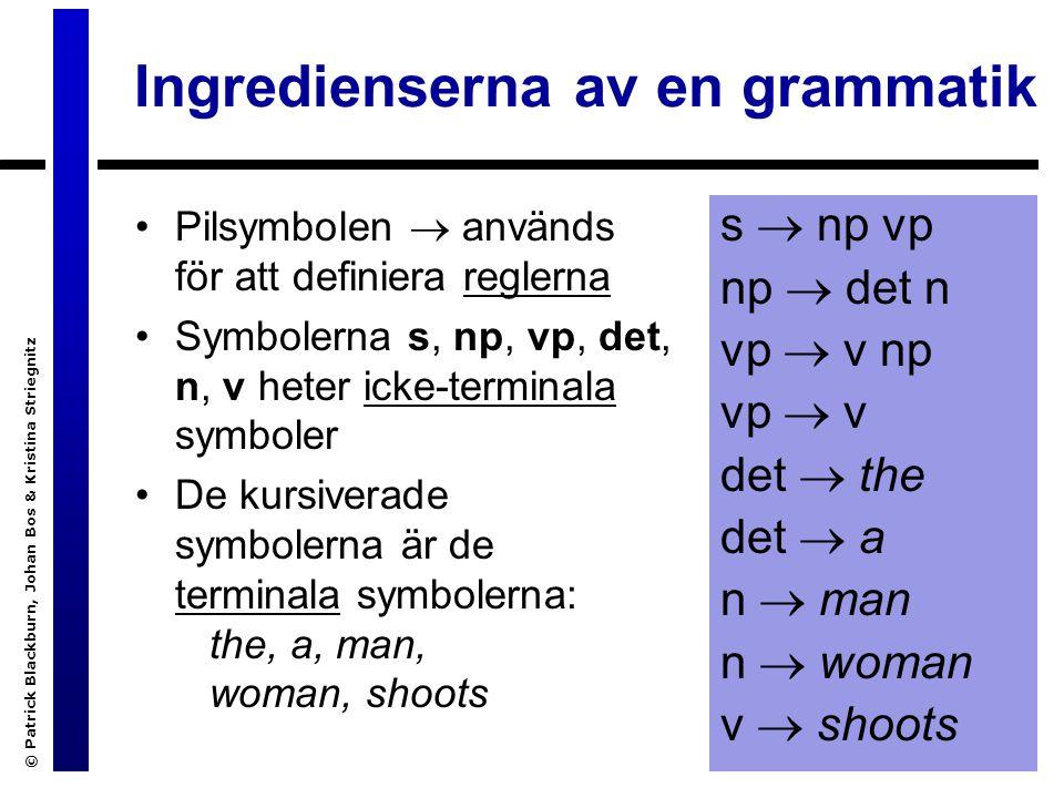 © Patrick Blackburn, Johan Bos & Kristina Striegnitz DCG:or: andra exemplet Vi har tillagt en rekursiv regel i grammatiken...