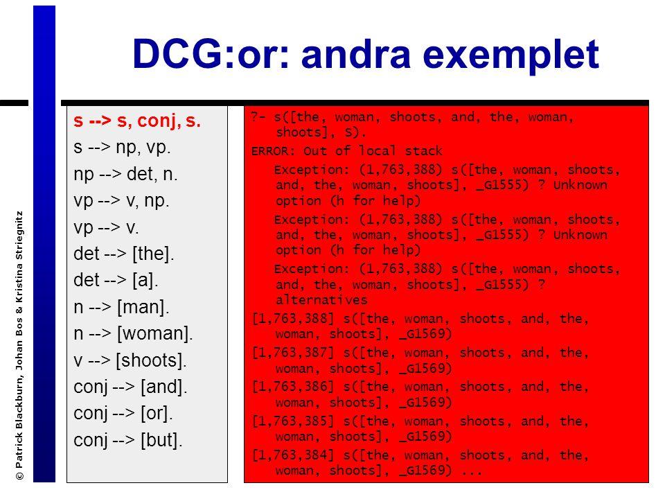 © Patrick Blackburn, Johan Bos & Kristina Striegnitz DCG:or: andra exemplet s --> s, conj, s.