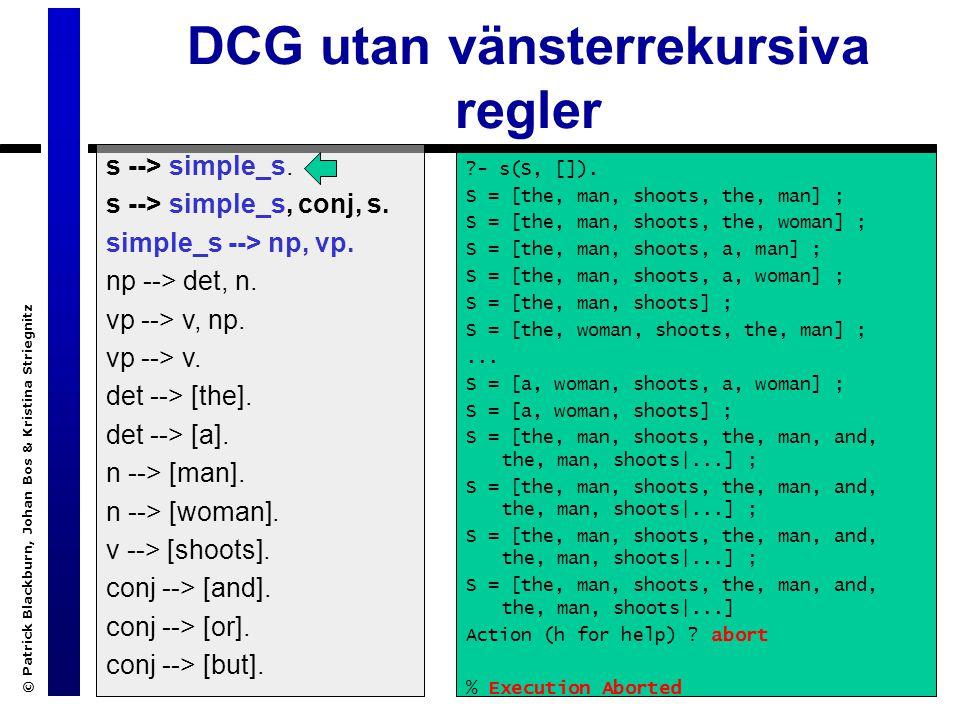 © Patrick Blackburn, Johan Bos & Kristina Striegnitz DCG utan vänsterrekursiva regler s --> simple_s.