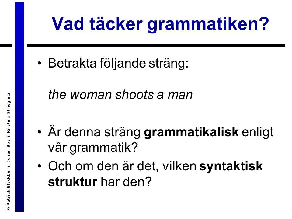 © Patrick Blackburn, Johan Bos & Kristina Striegnitz CFG-igenkänning mha append/3 s(C) :- np(A), vp(B), append(A,B,C).