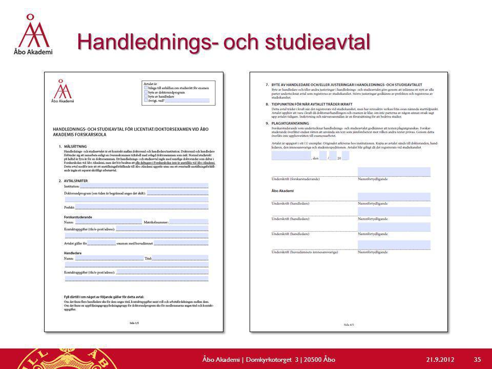 Handlednings- och studieavtal 21.9.2012Åbo Akademi | Domkyrkotorget 3 | 20500 Åbo 35