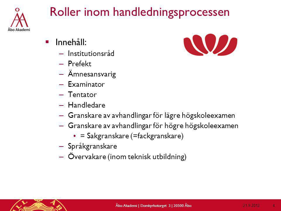 Rättigheter och skyldigheter 21.9.2012Åbo Akademi | Domkyrkotorget 3 | 20500 Åbo 45