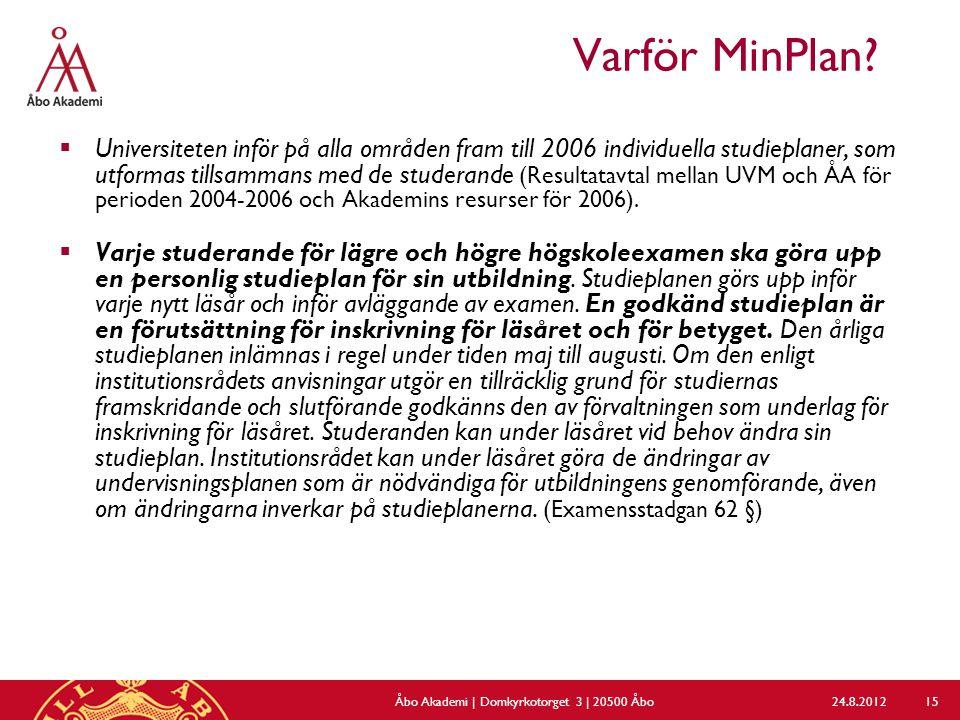 Varför MinPlan?  Universiteten inför på alla områden fram till 2006 individuella studieplaner, som utformas tillsammans med de studerande (Resultatav