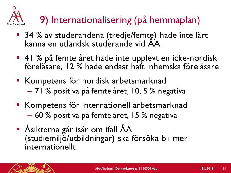 9) Internationalisering (på hemmaplan)  34 % av studerandena (tredje/femte) hade inte lärt känna en utländsk studerande vid ÅA  41 % på femte året hade inte upplevt en icke-nordisk föreläsare, 12 % hade endast haft inhemska föreläsare  Kompetens för nordisk arbetsmarknad – 71 % positiva på femte året, 10, 5 % negativa  Kompetens för internationell arbetsmarknad – 60 % positiva på femte året, 15 % negativa  Åsikterna går isär om ifall ÅA (studiemiljö/utbildningar) ska försöka bli mer internationellt 19.2.2013Åbo Akademi | Domkyrkotorget 3 | 20500 Åbo 14
