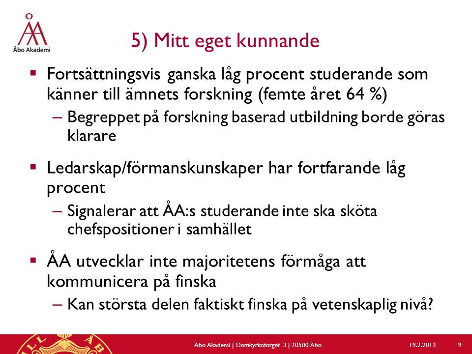 5) Mitt eget kunnande  Fortsättningsvis ganska låg procent studerande som känner till ämnets forskning (femte året 64 %) – Begreppet på forskning baserad utbildning borde göras klarare  Ledarskap/förmanskunskaper har fortfarande låg procent – Signalerar att ÅA:s studerande inte ska sköta chefspositioner i samhället  ÅA utvecklar inte majoritetens förmåga att kommunicera på finska – Kan största delen faktiskt finska på vetenskaplig nivå.