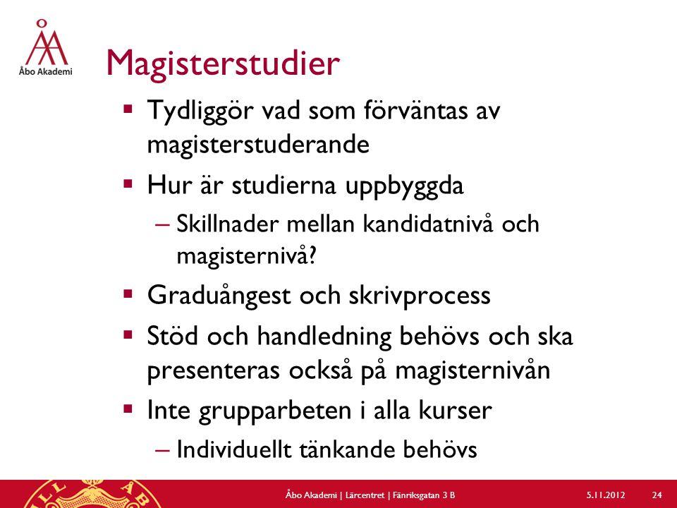 Magisterstudier  Tydliggör vad som förväntas av magisterstuderande  Hur är studierna uppbyggda – Skillnader mellan kandidatnivå och magisternivå.