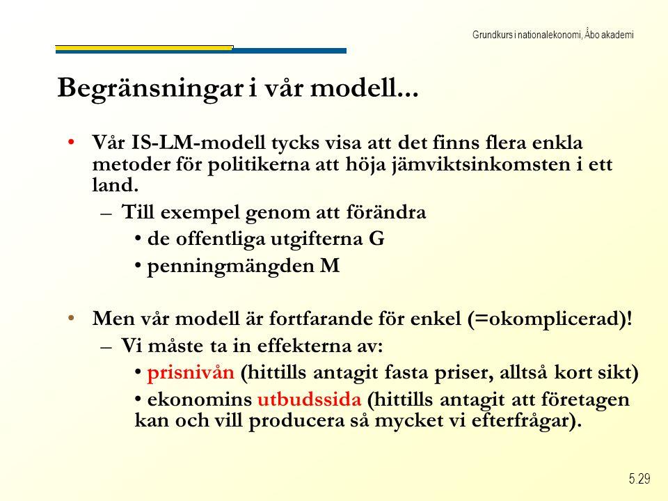 Grundkurs i nationalekonomi, Åbo akademi 5.29 Begränsningar i vår modell...