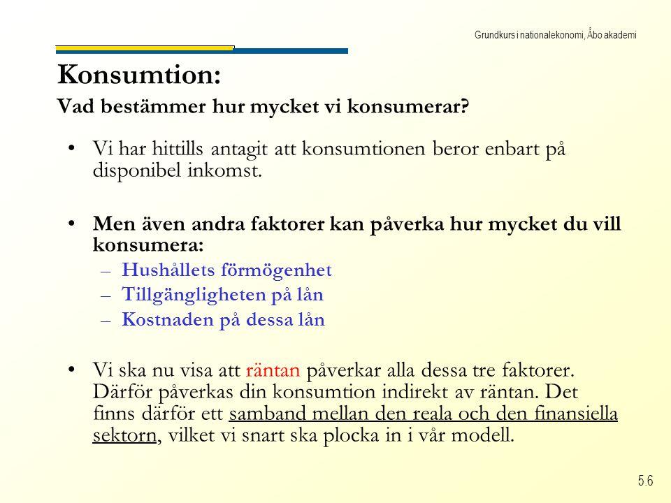 Grundkurs i nationalekonomi, Åbo akademi 5.6 Konsumtion: Vad bestämmer hur mycket vi konsumerar.