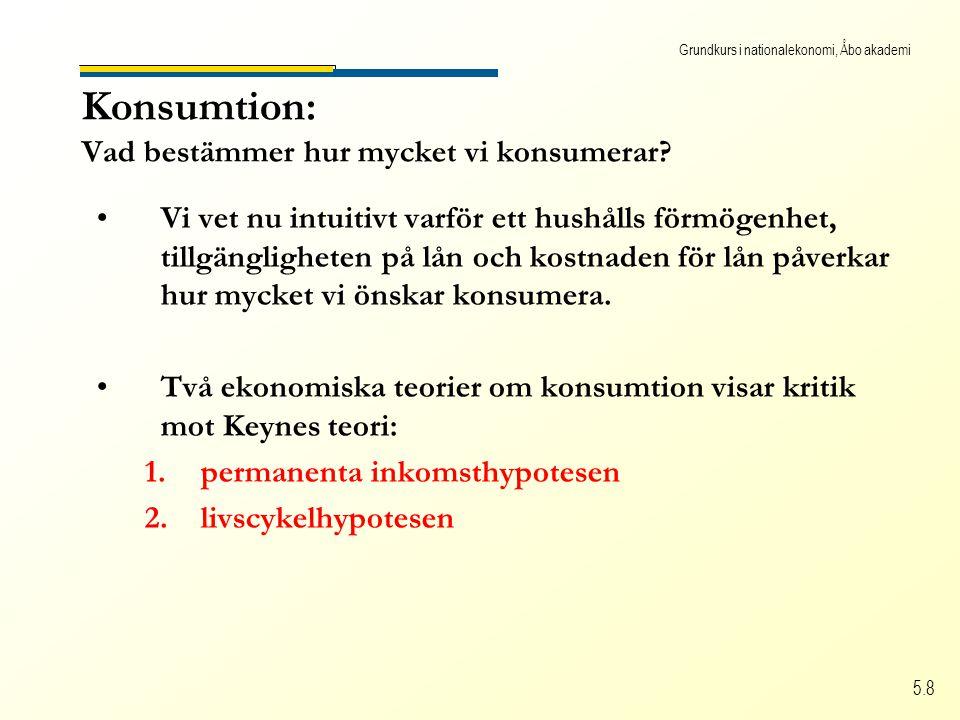 Grundkurs i nationalekonomi, Åbo akademi 5.8 Konsumtion: Vad bestämmer hur mycket vi konsumerar.