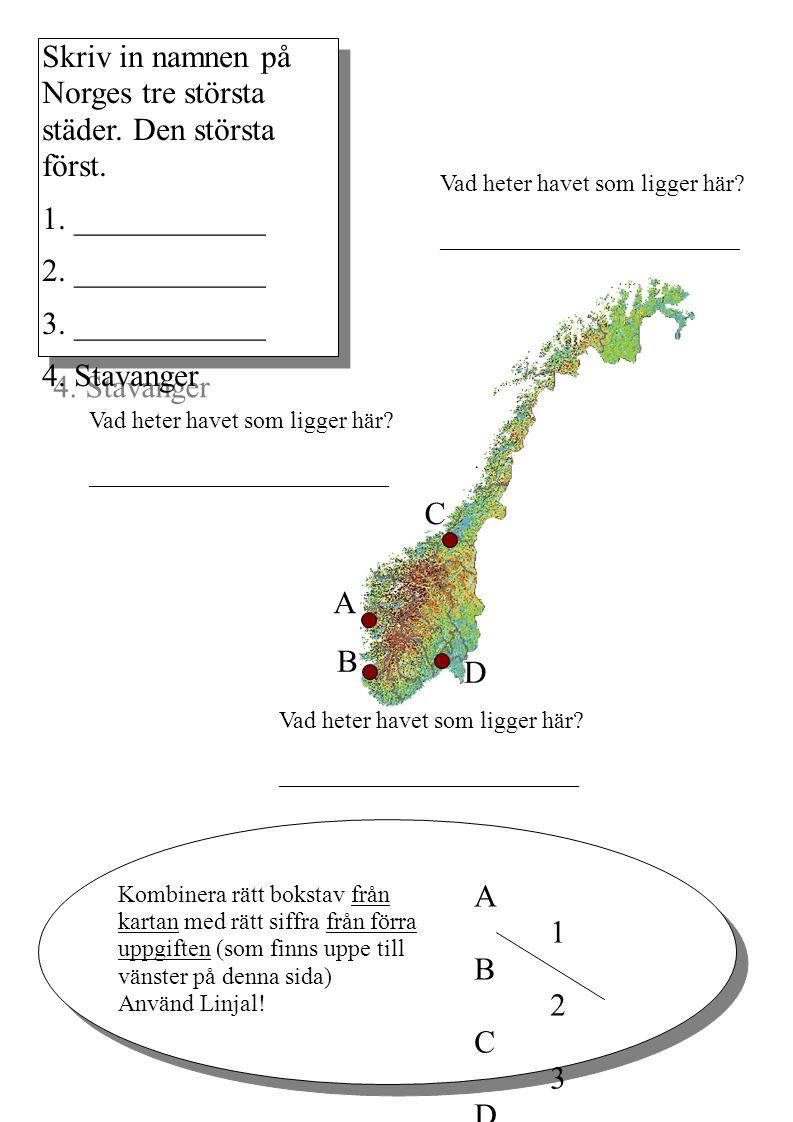 Skriv in namnen på Norges tre största städer. Den största först. 1. ____________ 2. ____________ 3. ____________ 4. Stavanger Skriv in namnen på Norge