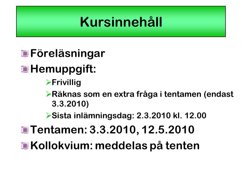 Kursinnehåll Föreläsningar Hemuppgift:  Frivillig  Räknas som en extra fråga i tentamen (endast 3.3.2010)  Sista inlämningsdag: 2.3.2010 kl. 12.00