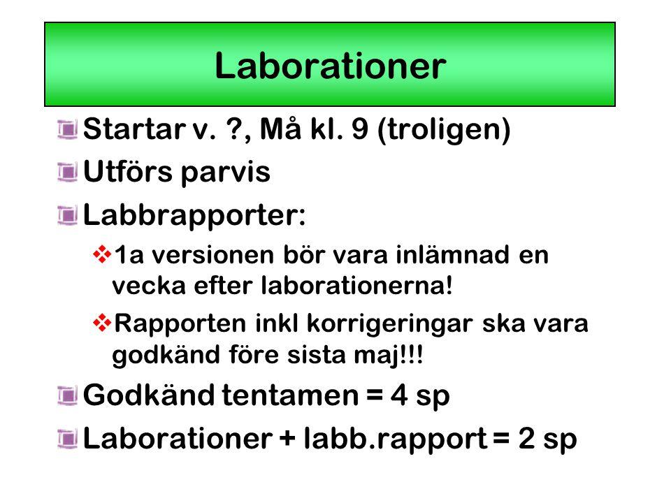 Laborationer Startar v. ?, Må kl. 9 (troligen) Utförs parvis Labbrapporter:  1a versionen bör vara inlämnad en vecka efter laborationerna!  Rapporte