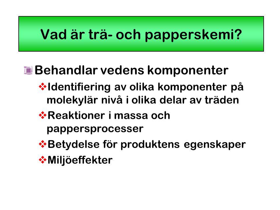 Vad är trä- och papperskemi? Behandlar vedens komponenter  Identifiering av olika komponenter på molekylär nivå i olika delar av träden  Reaktioner