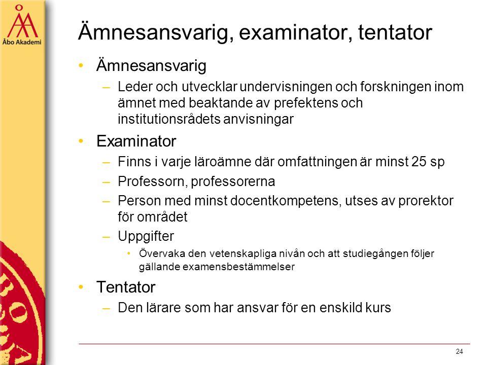 Ämnesansvarig, examinator, tentator Ämnesansvarig –Leder och utvecklar undervisningen och forskningen inom ämnet med beaktande av prefektens och insti