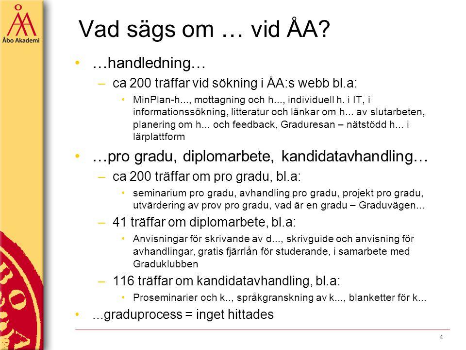Vad sägs om … vid ÅA? …handledning… –ca 200 träffar vid sökning i ÅA:s webb bl.a: MinPlan-h..., mottagning och h..., individuell h. i IT, i informatio