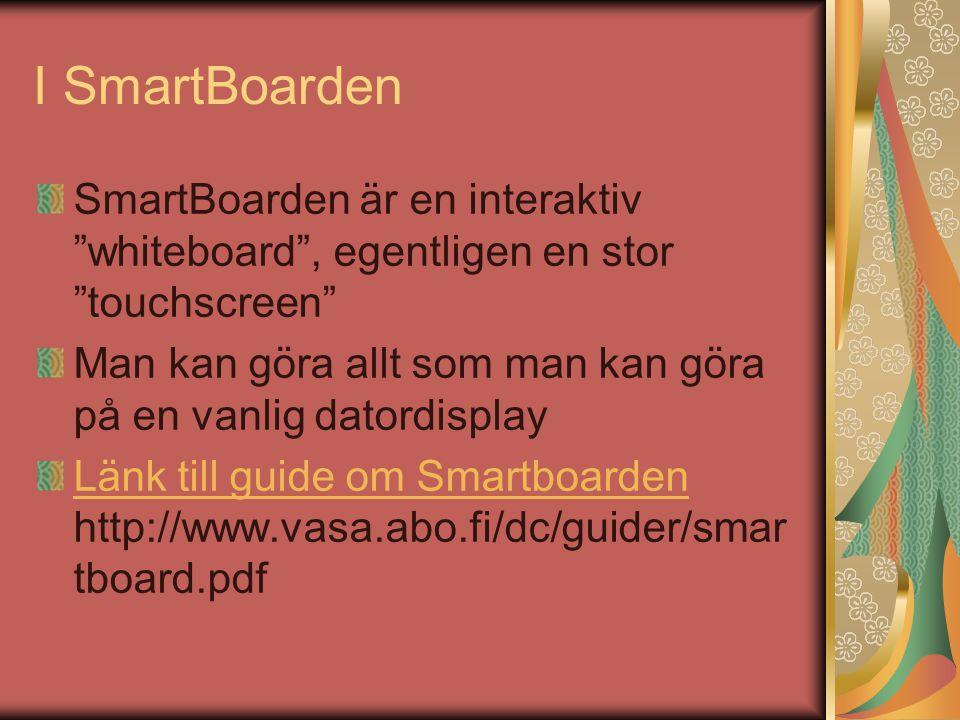 SmartBoardens tillämpningar i undervisningen Man kan spela in sin egen föreläsning, dvs allt man skriver på skärmen bevaras Särskilt bra för formler etc Man kan i princip sända föreläsningen till någon annan