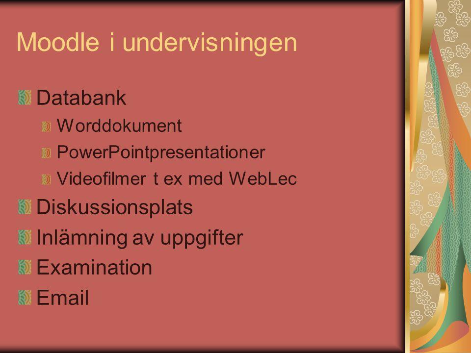 Moodle i undervisningen Databank Worddokument PowerPointpresentationer Videofilmer t ex med WebLec Diskussionsplats Inlämning av uppgifter Examination Email