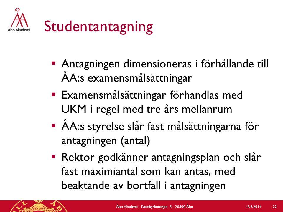 Studentantagning  Antagningen dimensioneras i förhållande till ÅA:s examensmålsättningar  Examensmålsättningar förhandlas med UKM i regel med tre års mellanrum  ÅA:s styrelse slår fast målsättningarna för antagningen (antal)  Rektor godkänner antagningsplan och slår fast maximiantal som kan antas, med beaktande av bortfall i antagningen 12.9.2014Åbo Akademi - Domkyrkotorget 3 - 20500 Åbo 22