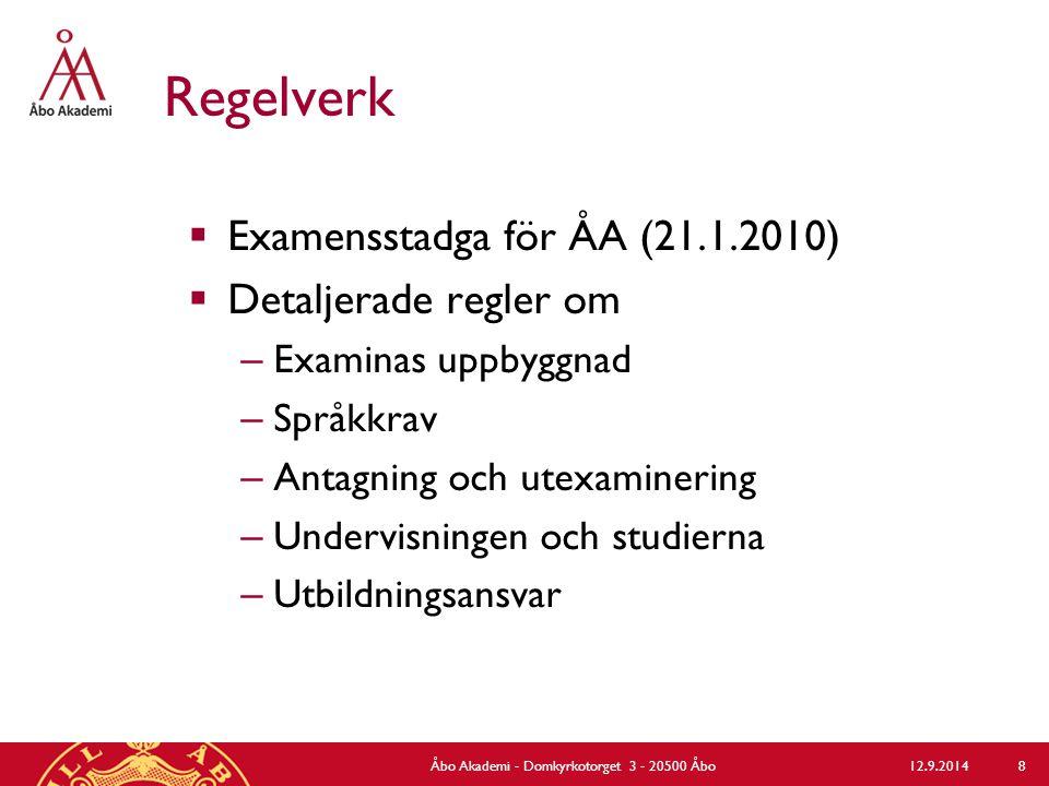 Regelverk  Lagar och förordningar tillgängliga på www.finlex.fi www.finlex.fi  ÅA:s bestämmelser tillgängliga på http://www.abo.fi/personal/forfattningar http://www.abo.fi/personal/forfattningar  Utbildningsspecifika bestämmelser på http://www.abo.fi/personal/ultbildforf http://www.abo.fi/personal/ultbildforf 12.9.2014Åbo Akademi - Domkyrkotorget 3 - 20500 Åbo 9