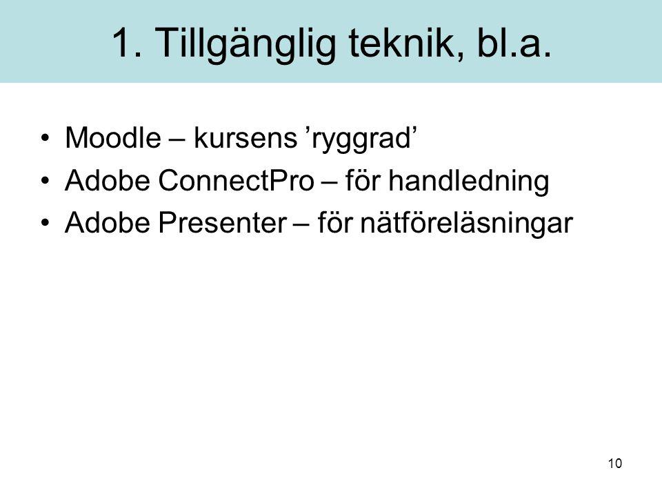 10 1. Tillgänglig teknik, bl.a.