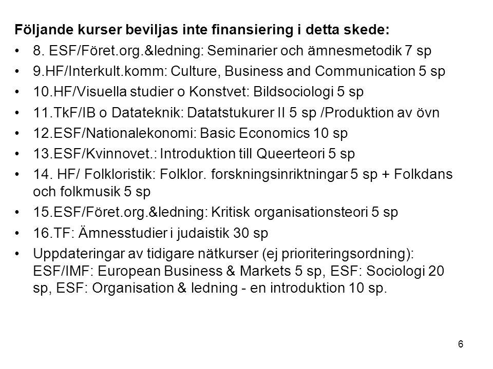 6 Följande kurser beviljas inte finansiering i detta skede: 8.