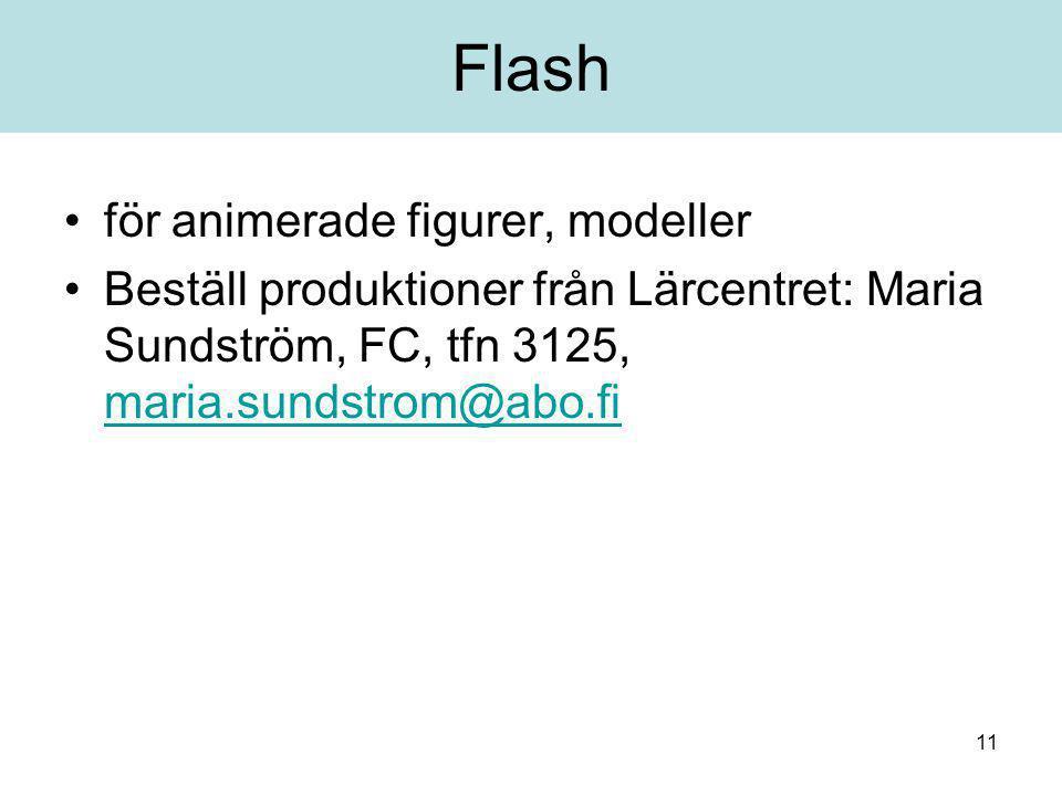 11 Flash för animerade figurer, modeller Beställ produktioner från Lärcentret: Maria Sundström, FC, tfn 3125, maria.sundstrom@abo.fi maria.sundstrom@abo.fi