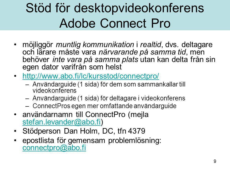 10 Stöd för Adobe Presenter – för produktion av nätföreläsningar Ljud till PowerPoint (+ sjävlrättande test för aktivering) Tilläggsdel till PowerPoint, behövs –nedladdad programvara (närstödaren hjälper) –användarnamn till ConnectPro (mejla stefan.levander@abo.fi) stefan.levander@abo.fi –hörlurar med mikrofon http://www.abo.fi/lc/kursstod/materialprod/presenter.html Övriga former av nätföreläsningar http://www.abo.fi/lc/kursstod/materialprod/utrustning.html –Bandad videofil –Windows Movie Maker, enkel produktion av film –MS Producer för kombination av ljud/video + ppt