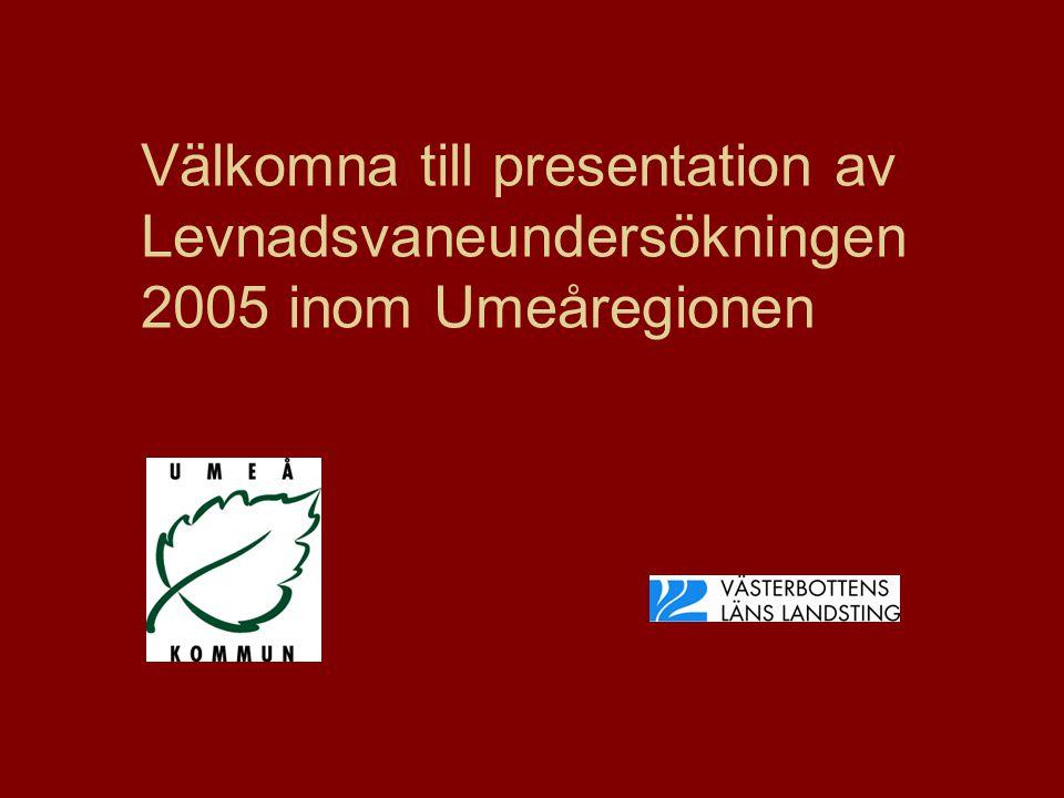 Välkomna till presentation av Levnadsvaneundersökningen 2005 inom Umeåregionen