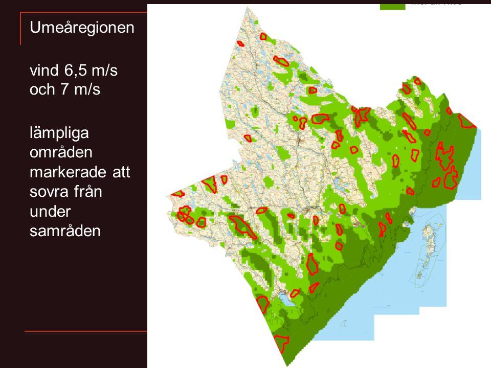Umeåregionen vind 6,5 m/s och 7 m/s lämpliga områden markerade att sovra från under samråden
