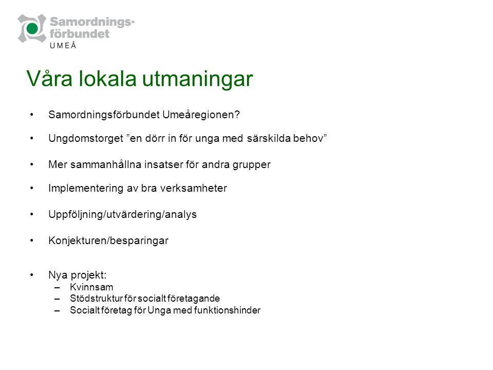 """Våra lokala utmaningar Samordningsförbundet Umeåregionen? Ungdomstorget """"en dörr in för unga med särskilda behov"""" Mer sammanhållna insatser för andra"""